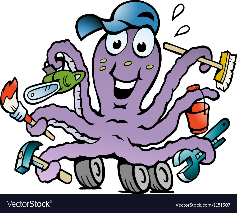 Hand-drawn of an happy busy octopus handyman vector | Price: 1 Credit (USD $1)