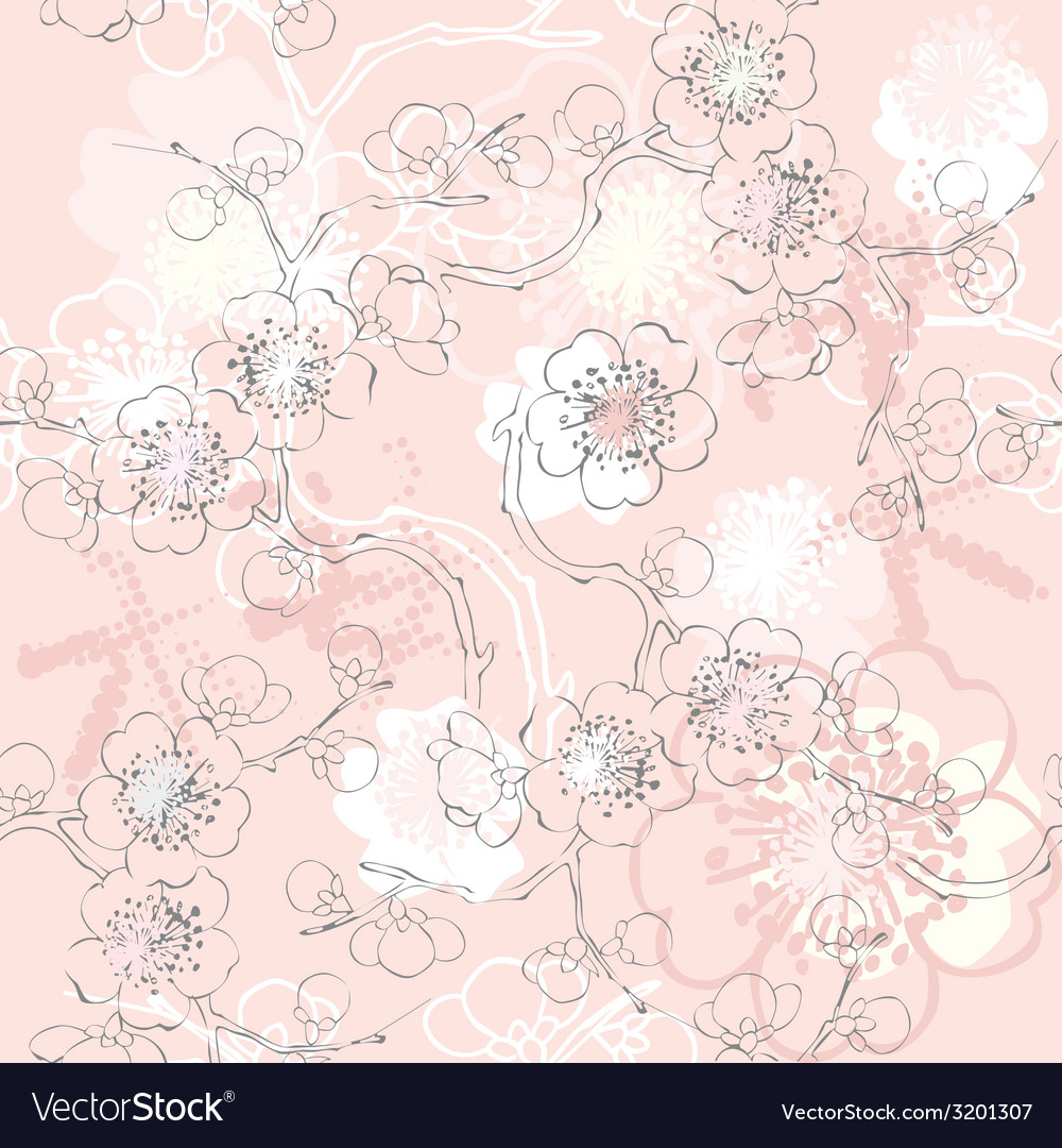 Pink sakura pattern vector | Price: 1 Credit (USD $1)