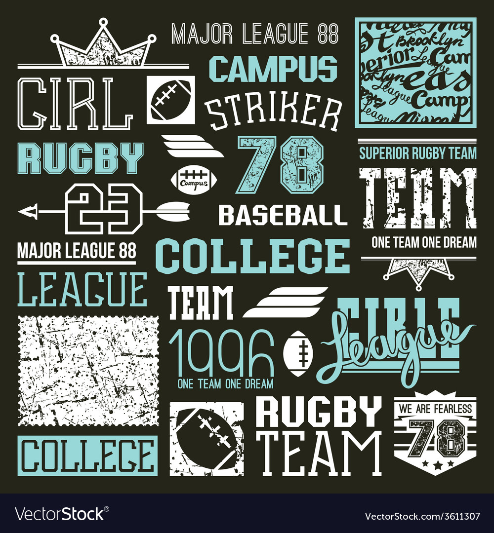 Rugby and baseball college team design elements vector | Price: 1 Credit (USD $1)