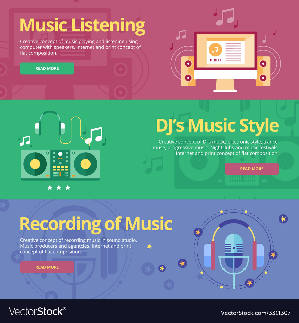 Set of flat design concepts for music listening vector | Price: 1 Credit (USD $1)