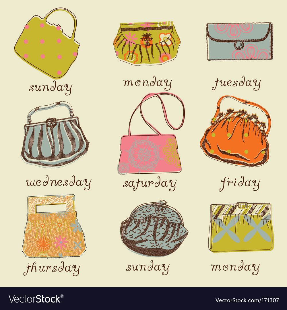 Set of woman bags vector | Price: 1 Credit (USD $1)