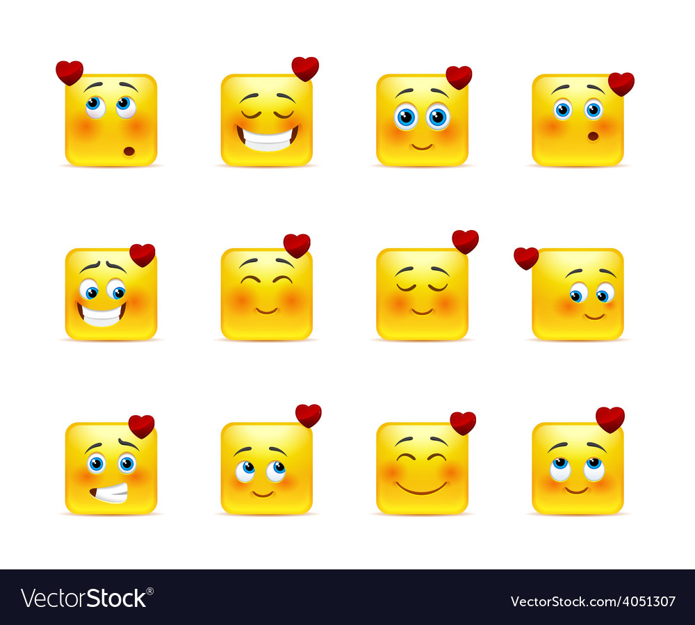 Set valentine emoticons vector | Price: 1 Credit (USD $1)