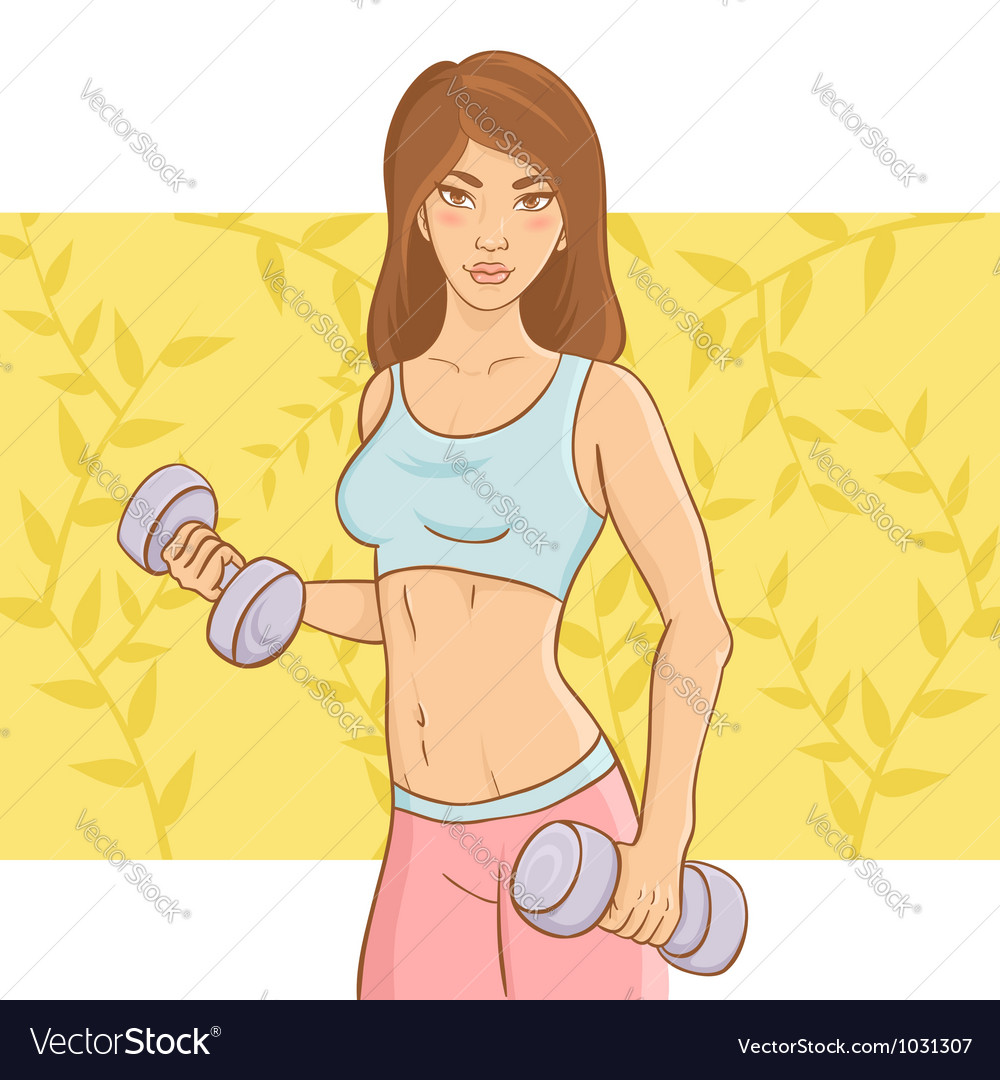 Sporty beautiful girl doing a fitness workout vector | Price: 3 Credit (USD $3)