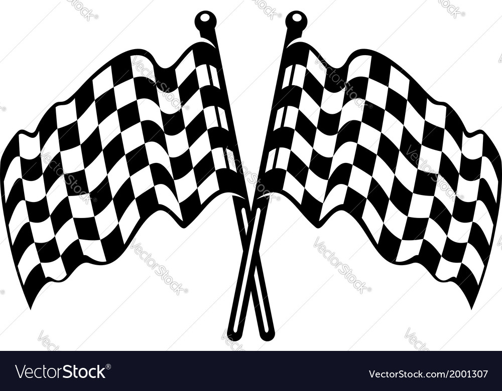 Two crossed black and white checkered flags vector | Price: 1 Credit (USD $1)