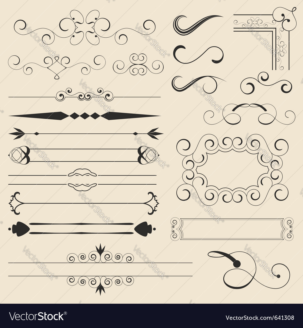 Calligraphic design elements vector | Price: 1 Credit (USD $1)