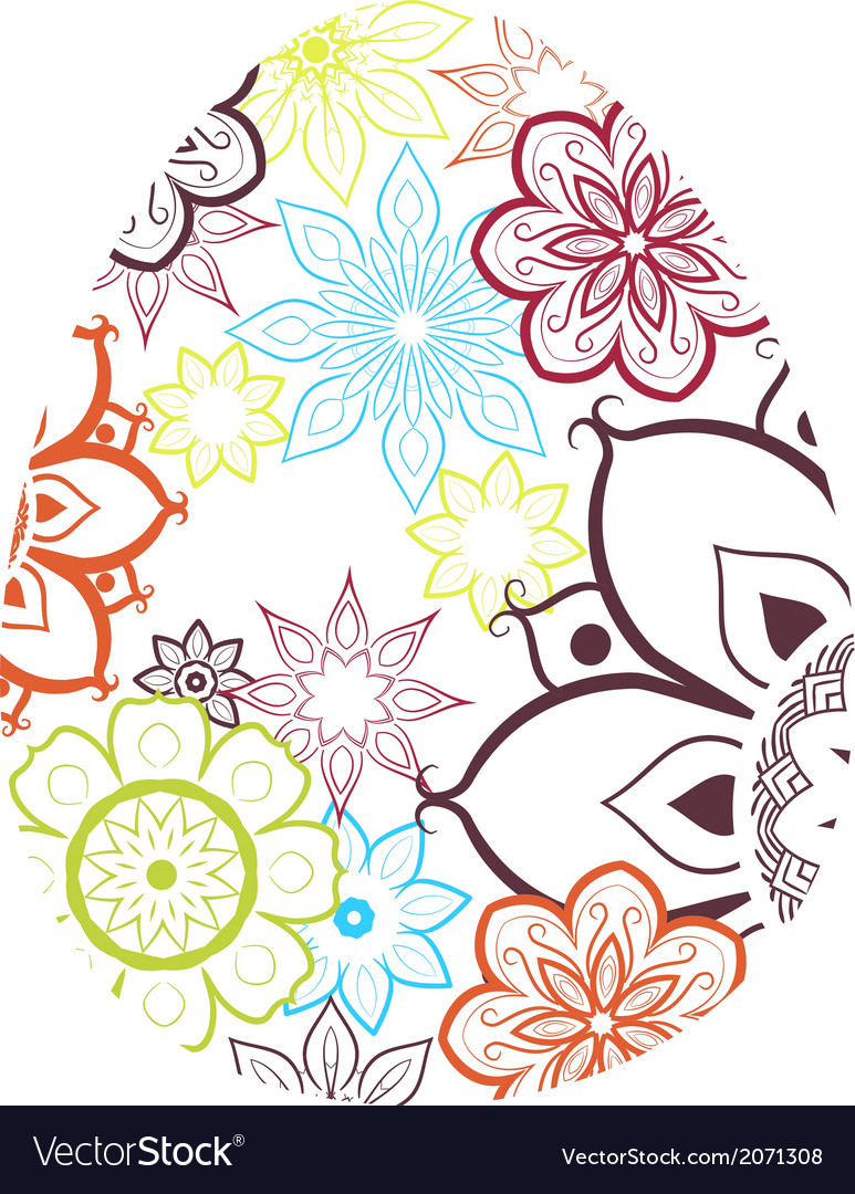 Easter egg with flower pattern vector | Price: 1 Credit (USD $1)