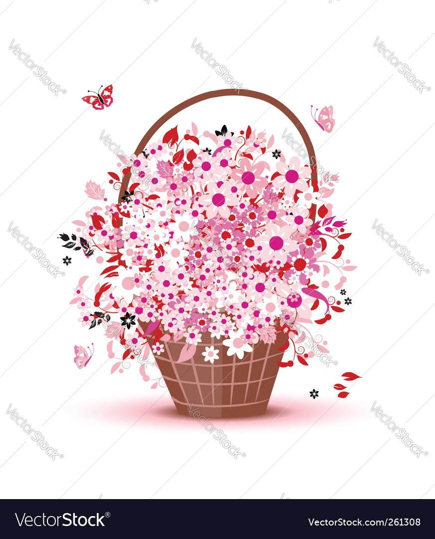 Flower basket vector | Price: 1 Credit (USD $1)
