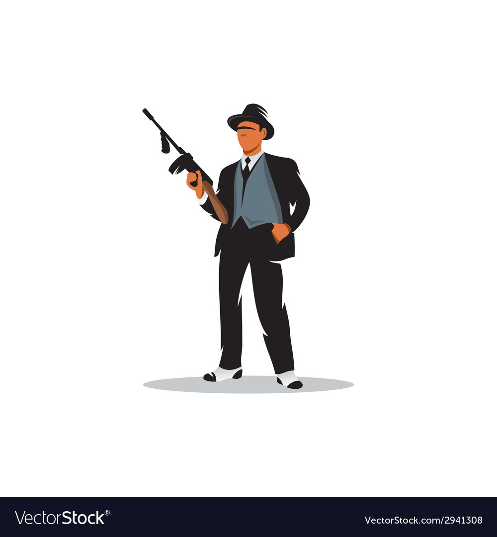 Gangster with a gun vector | Price: 1 Credit (USD $1)
