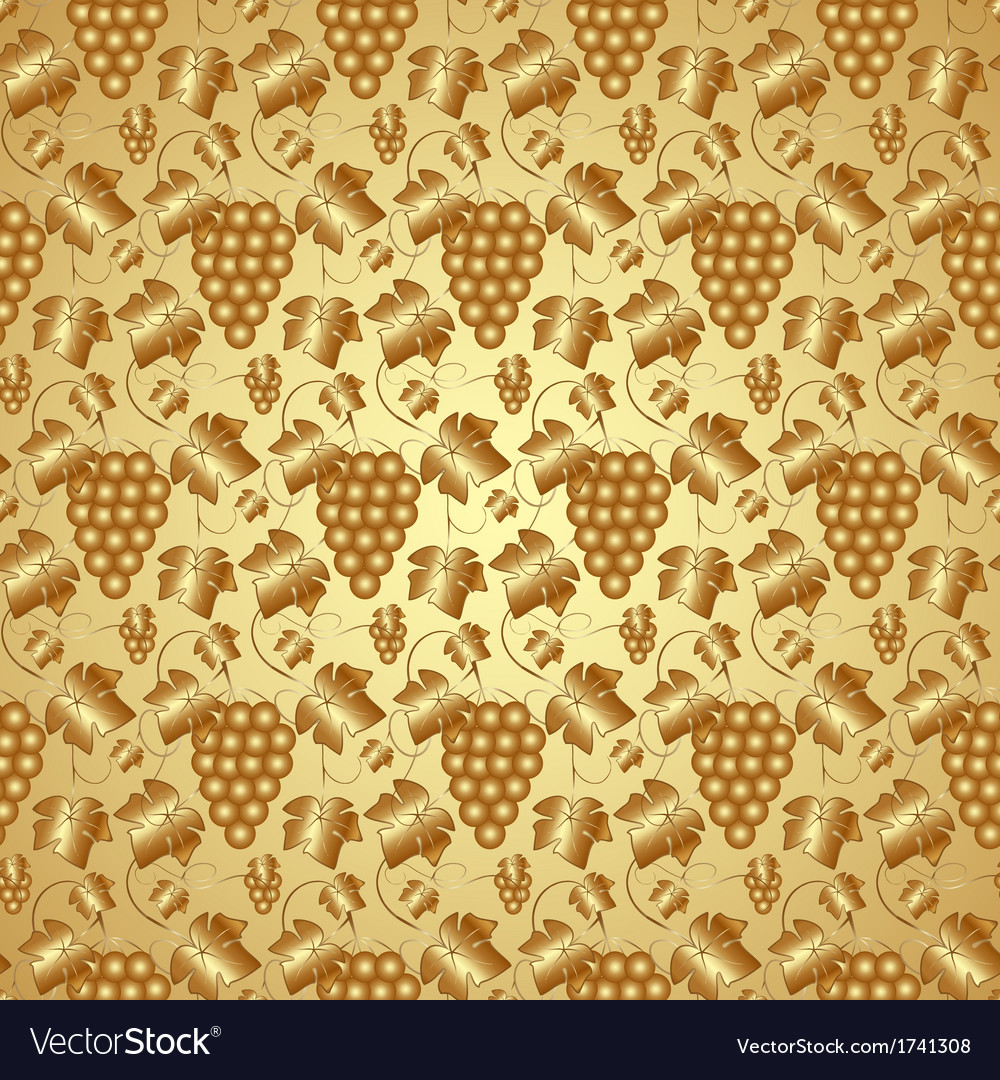 Golden seamless pattern with grapes and leaves vector | Price: 1 Credit (USD $1)