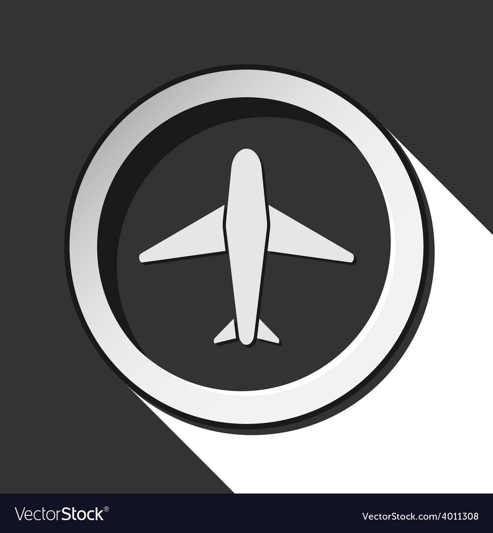 Grey button with airplane vector