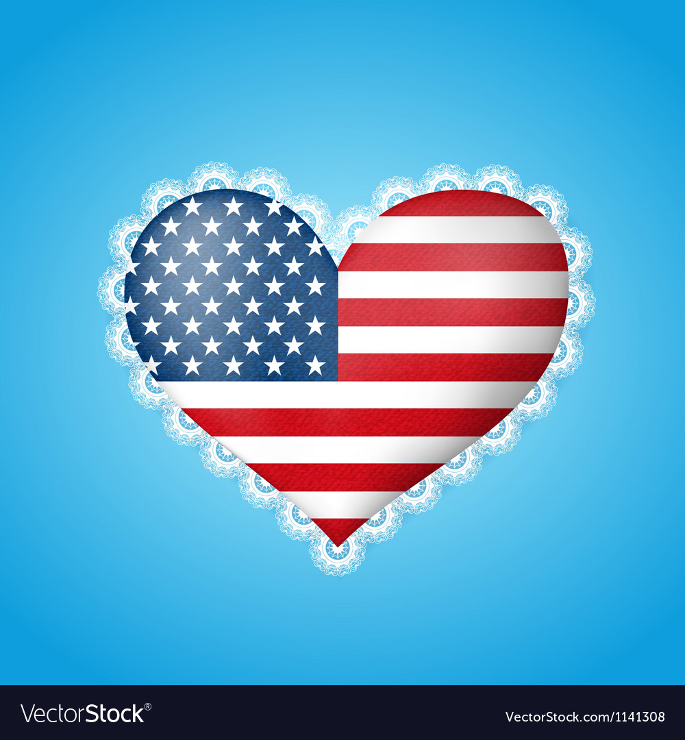 Heart shape flag of usa vector | Price: 1 Credit (USD $1)