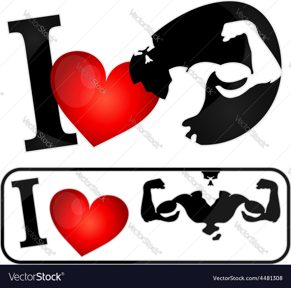 I love muscles symbol vector | Price: 1 Credit (USD $1)