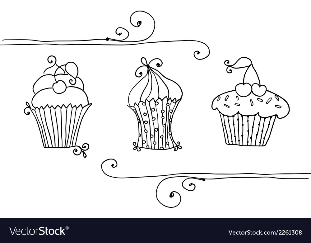 Isolated set of cupcake vector | Price: 1 Credit (USD $1)
