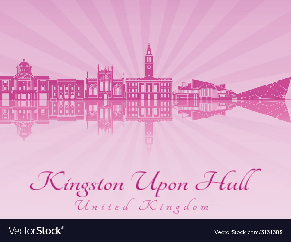 Kingston upon hull skyline in purple radiant vector | Price: 1 Credit (USD $1)