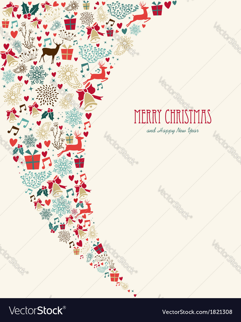 Merry christmas vintage elements composition vector | Price: 1 Credit (USD $1)