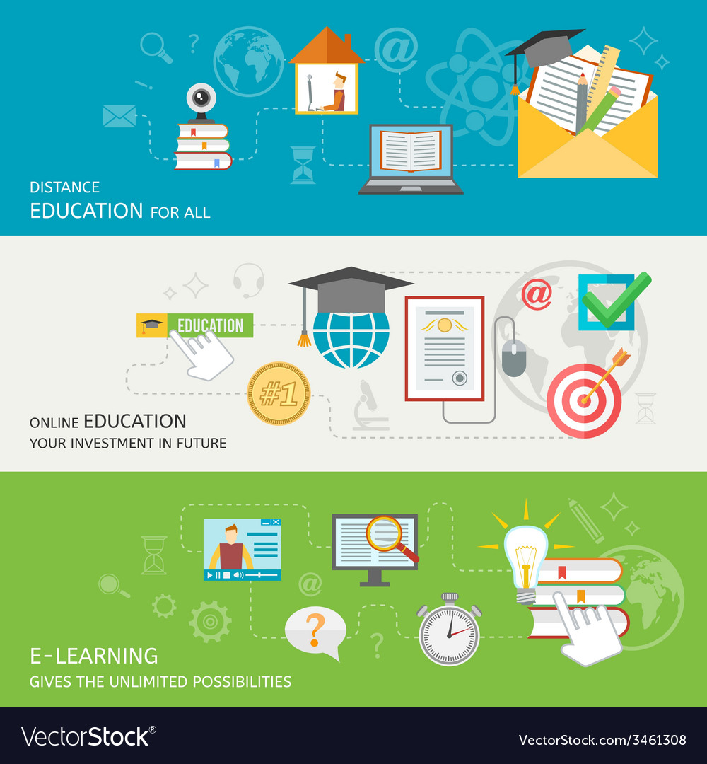 Online education banner vector | Price: 1 Credit (USD $1)