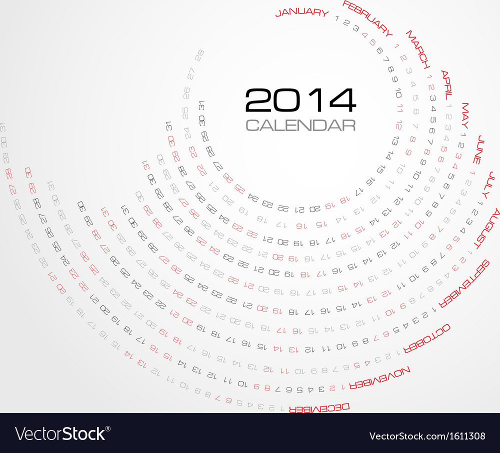 Round simply calendar 2014 vector | Price: 1 Credit (USD $1)
