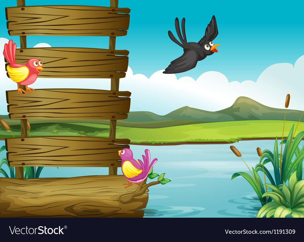 Birds near a blank wooden signage vector | Price: 1 Credit (USD $1)