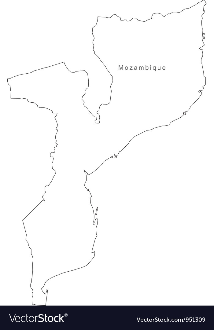 Black white mozambique outline map vector | Price: 1 Credit (USD $1)