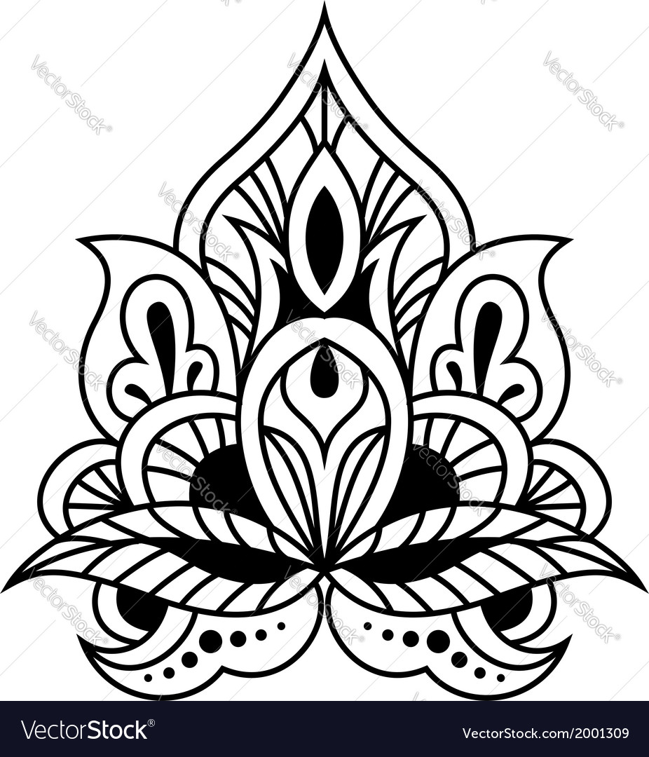 Bold black and white floral persian design vector | Price: 1 Credit (USD $1)