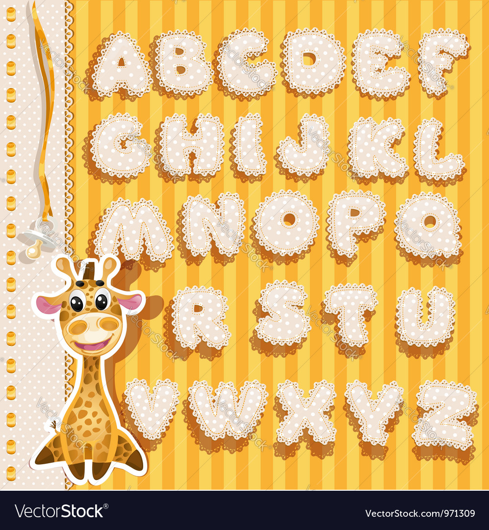 Children alphabet with lace ribbons and giraffe vector | Price: 1 Credit (USD $1)