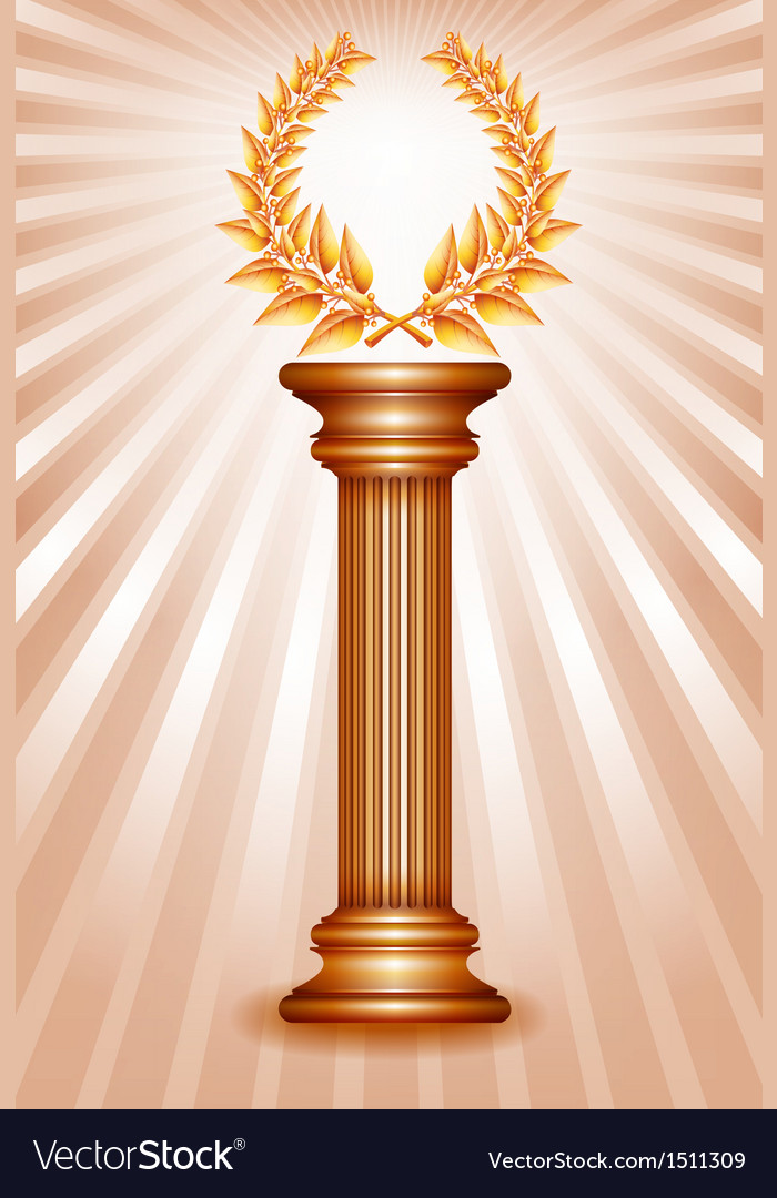 Column laurel bronze vector | Price: 1 Credit (USD $1)
