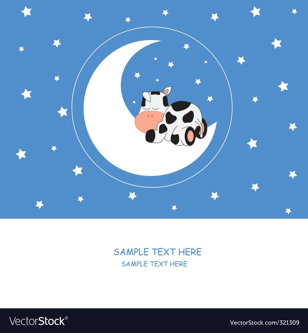 Cow moon vector | Price: 1 Credit (USD $1)