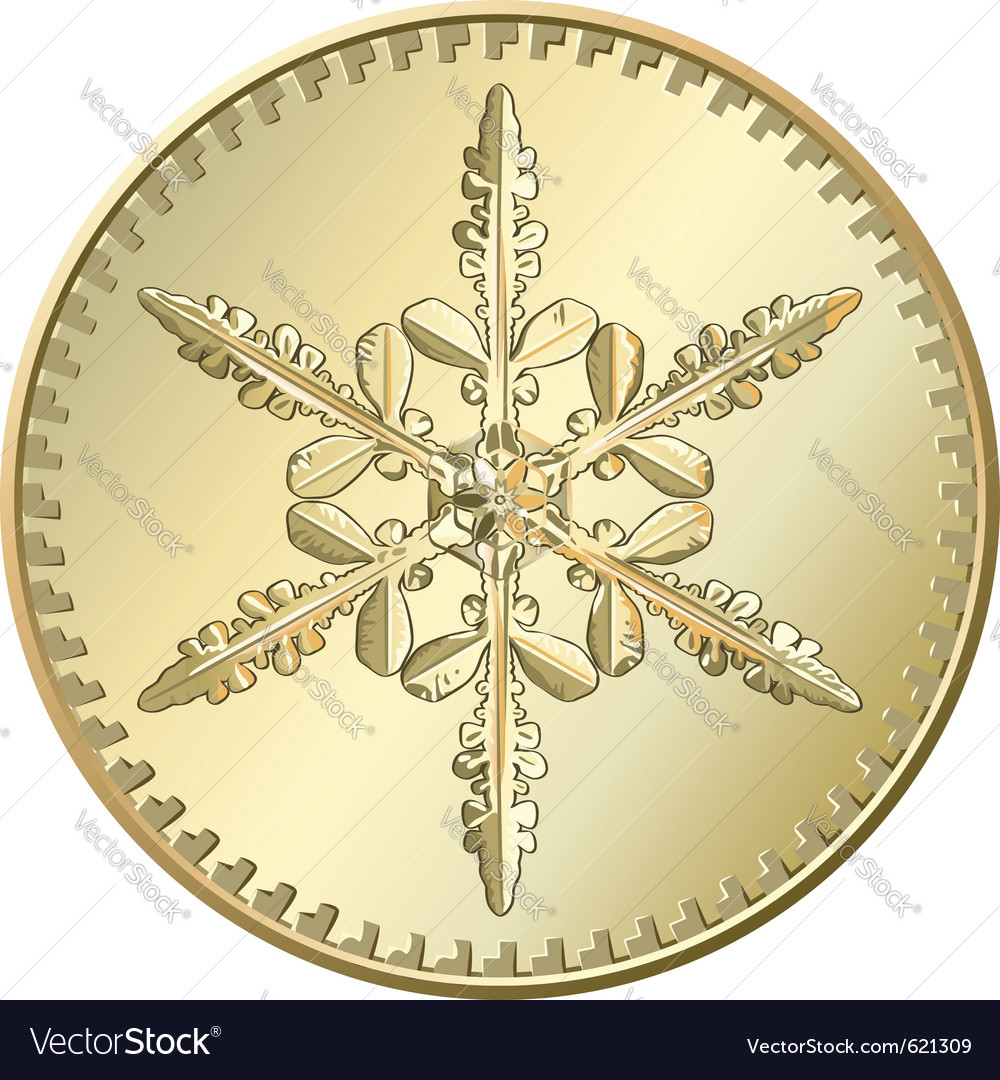 Gold coin snowflake vector | Price: 1 Credit (USD $1)