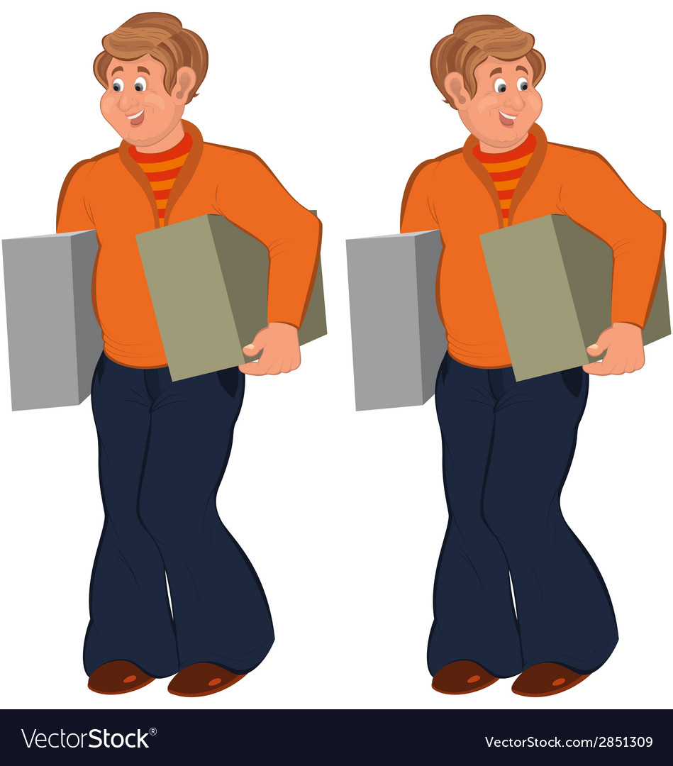 Happy cartoon man standing in orange sweater with vector | Price: 1 Credit (USD $1)
