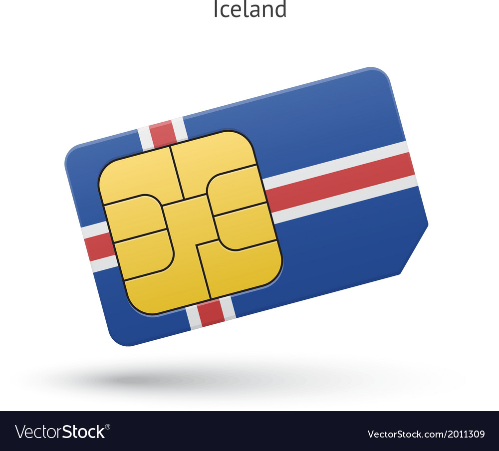 Iceland mobile phone sim card with flag vector   Price: 1 Credit (USD $1)