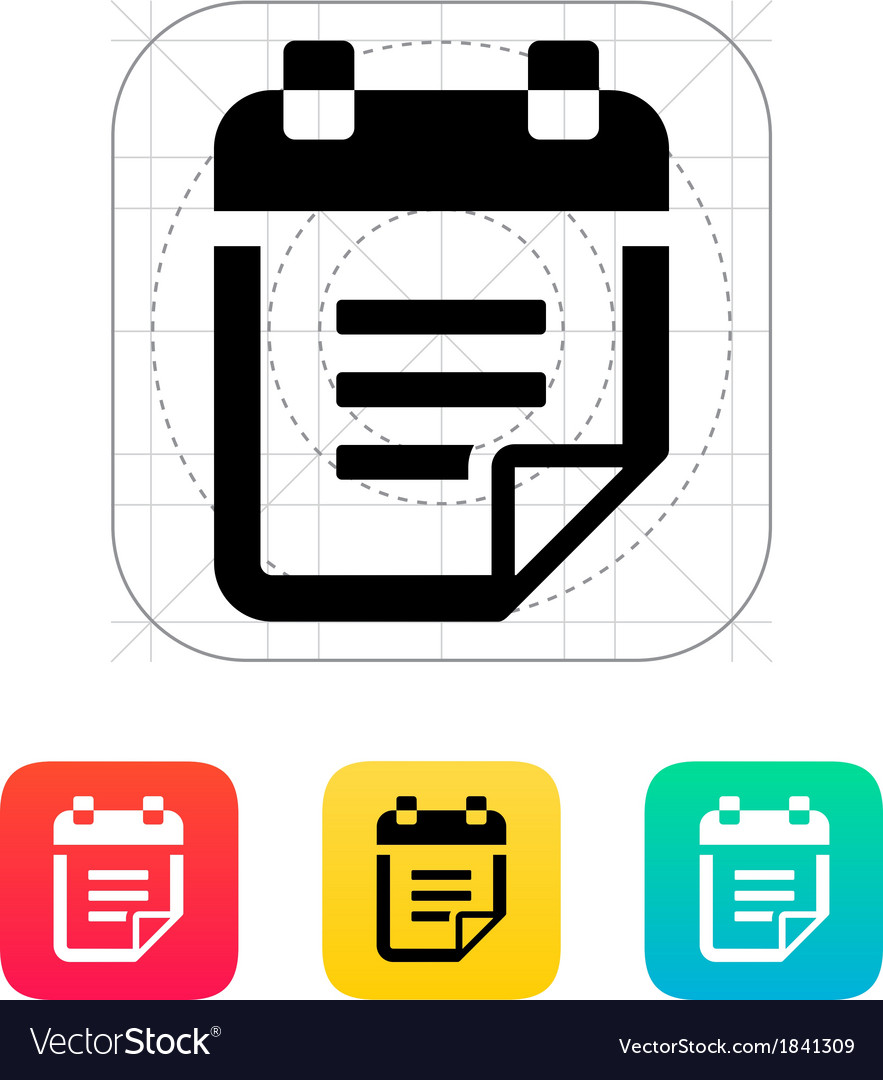 Notepad with text icon vector | Price: 1 Credit (USD $1)