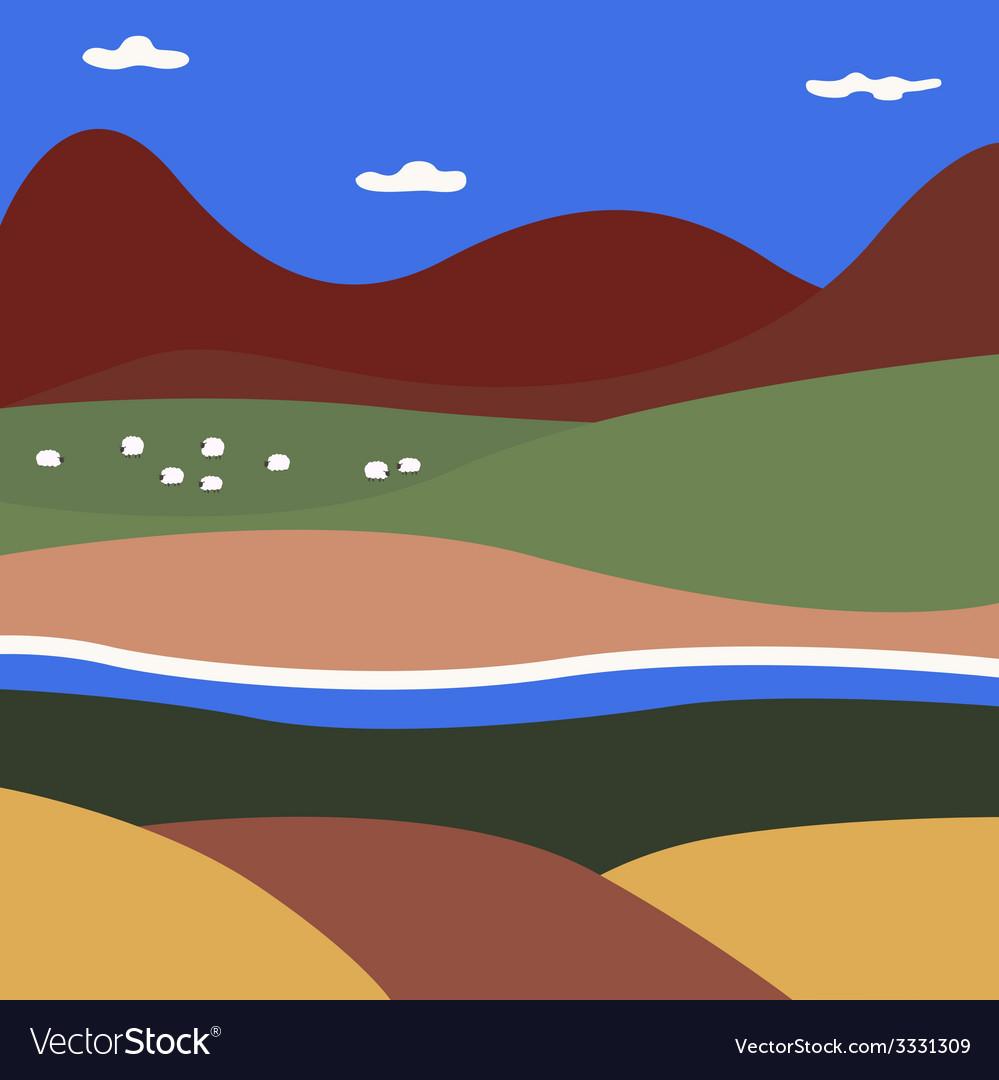 Rural summer landscape vector | Price: 1 Credit (USD $1)