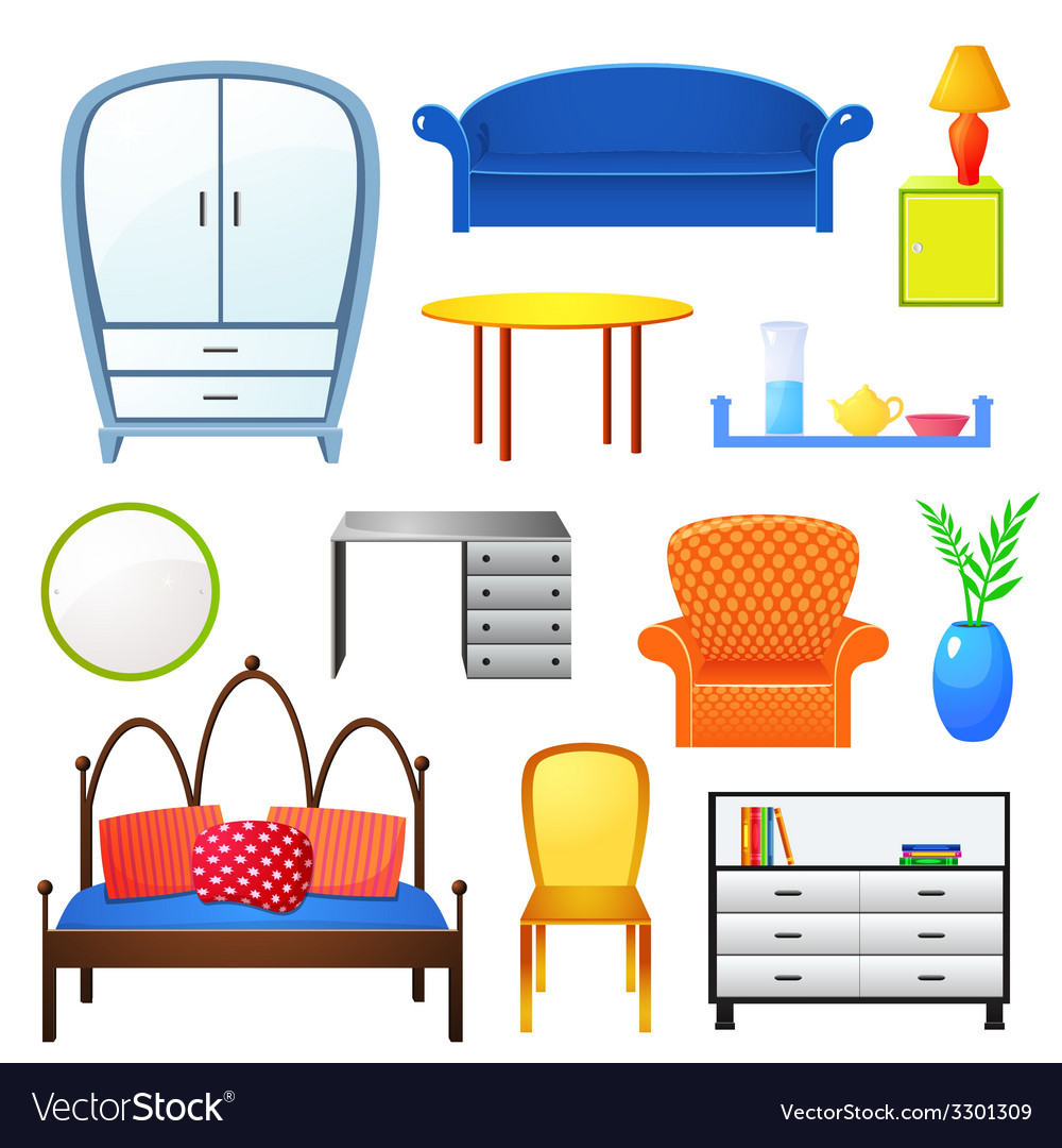 Set elements furniture isolated from the vector | Price: 1 Credit (USD $1)