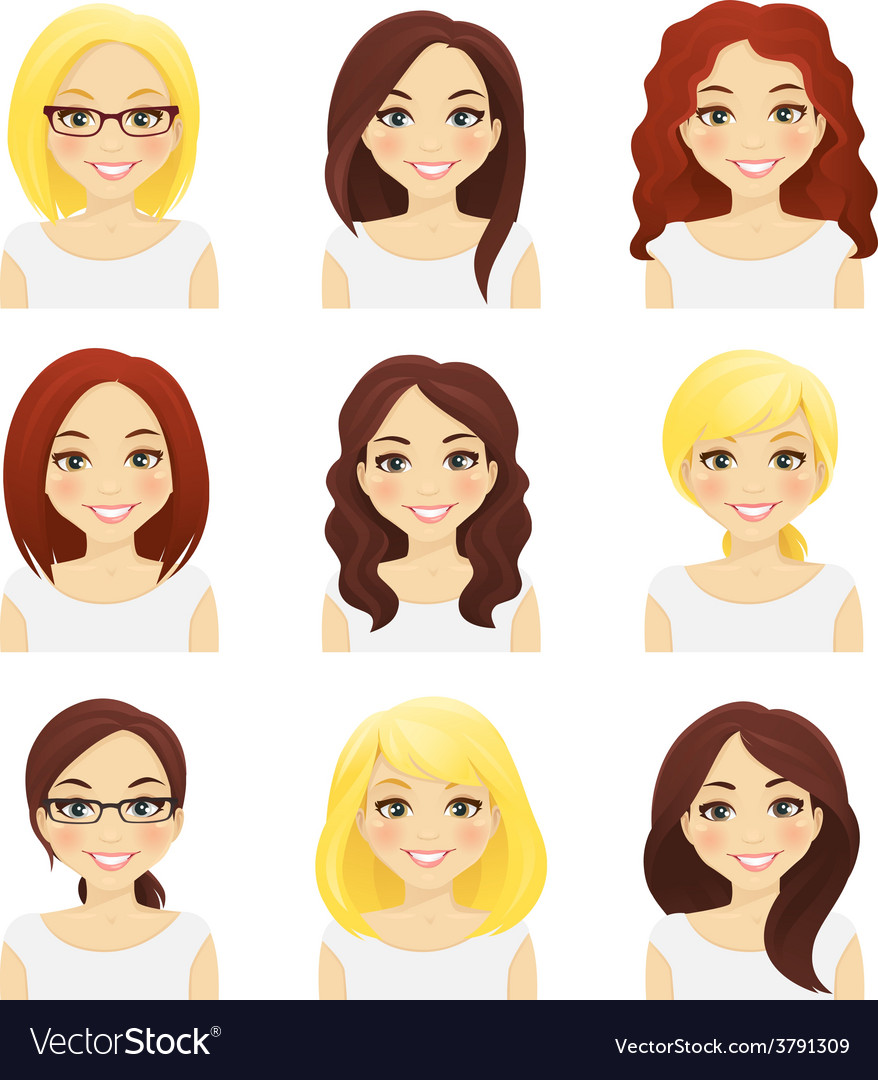Set of cute girls vector | Price: 1 Credit (USD $1)
