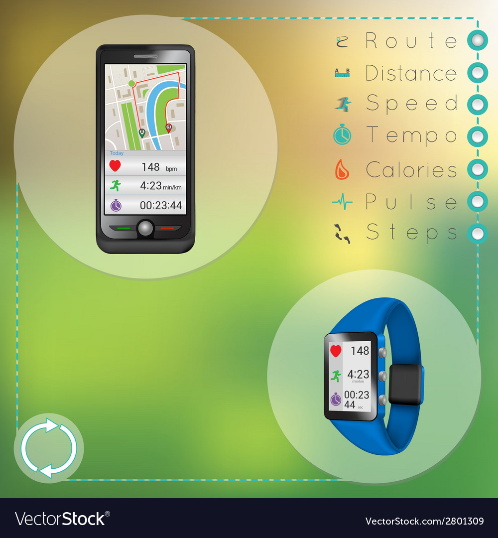 Smartphone and smart fitness watch vector | Price: 1 Credit (USD $1)