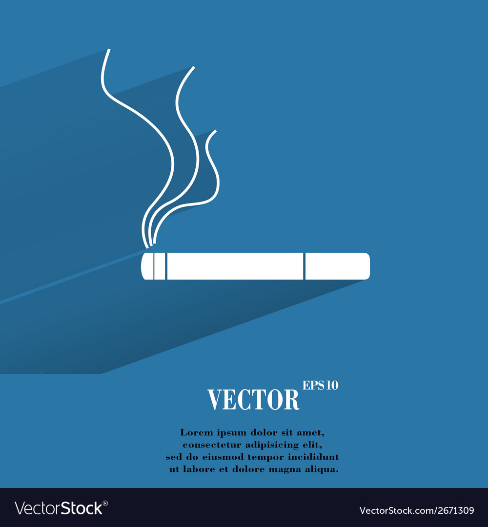 Smoking sign cigarette flat modern web button with vector | Price: 1 Credit (USD $1)