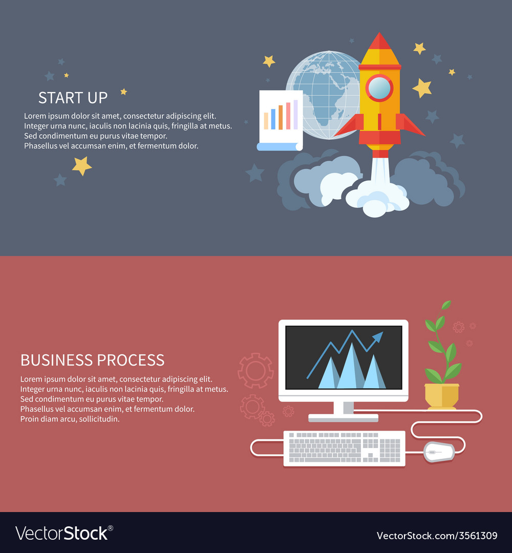 Start up rocket and business process vector | Price: 1 Credit (USD $1)