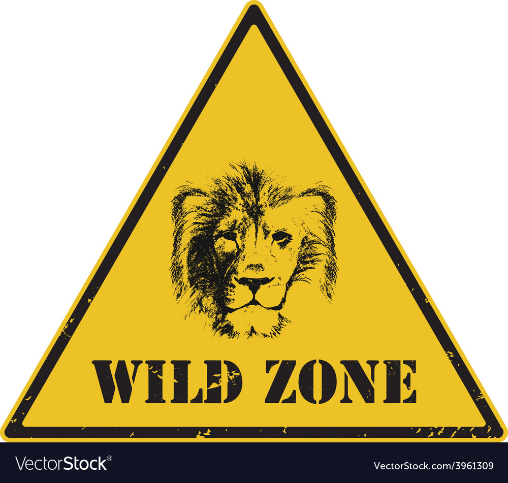 Warning sign danger signal with lion vector | Price: 1 Credit (USD $1)