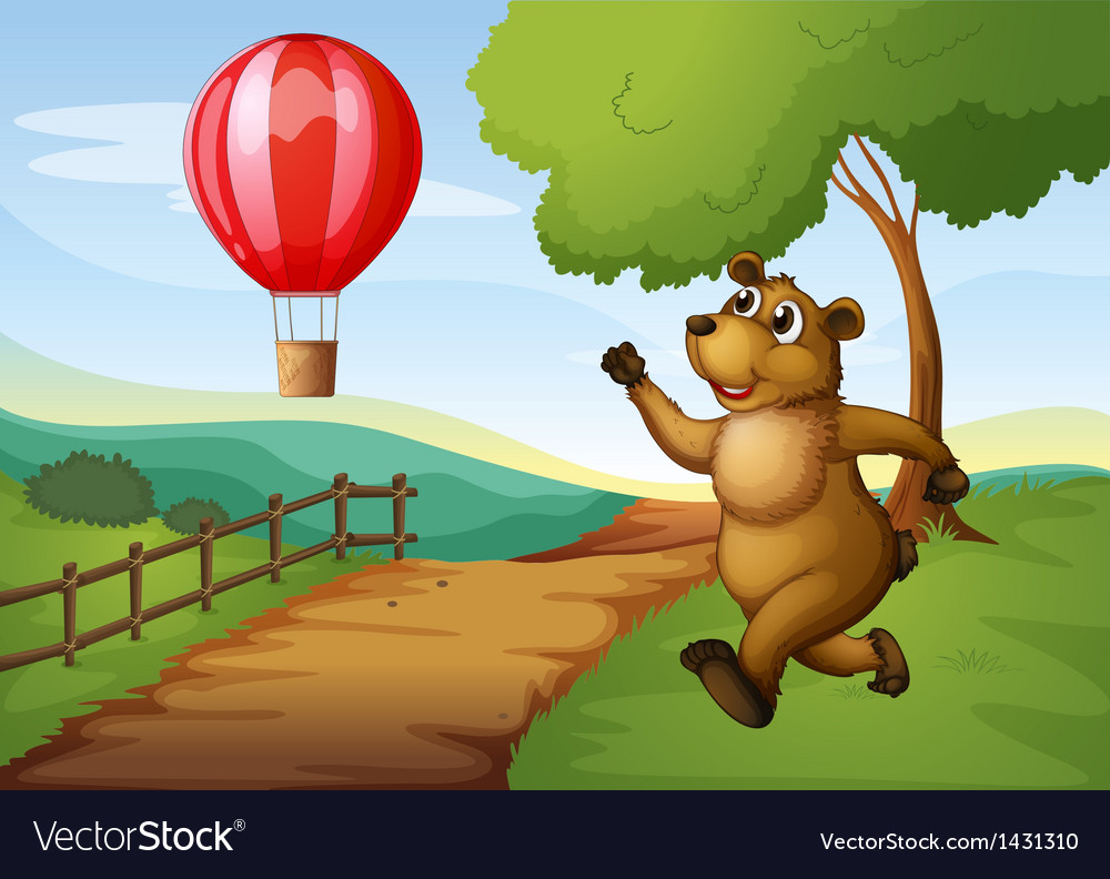 A bear running after the hot air balloon vector | Price: 1 Credit (USD $1)
