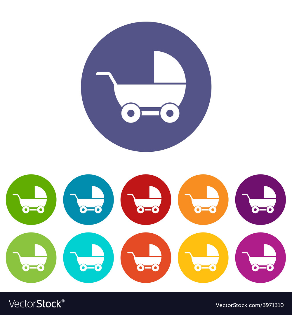 Baby carriage flat icon vector | Price: 1 Credit (USD $1)