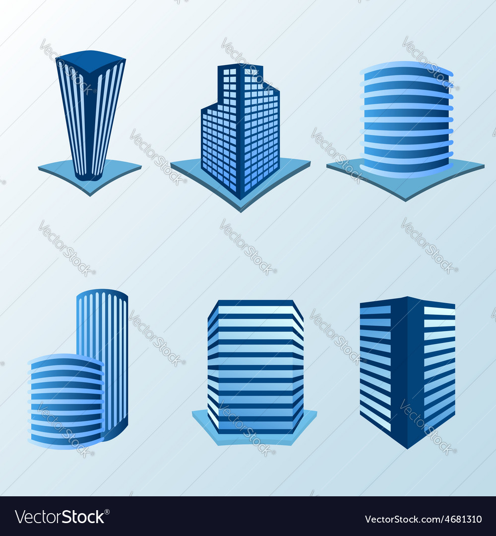 Building icon set in blue tone vector | Price: 1 Credit (USD $1)