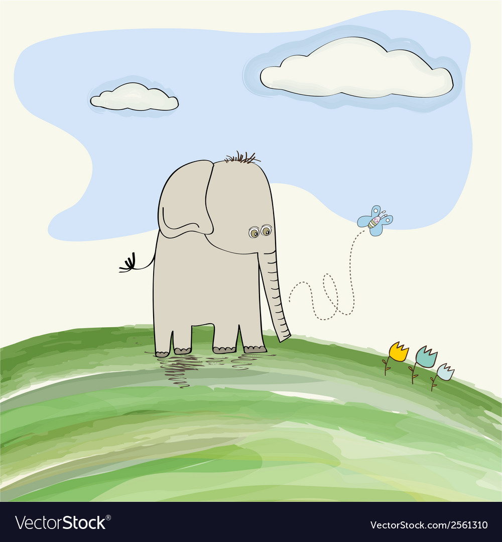 Cute doodle elephant vector | Price: 1 Credit (USD $1)