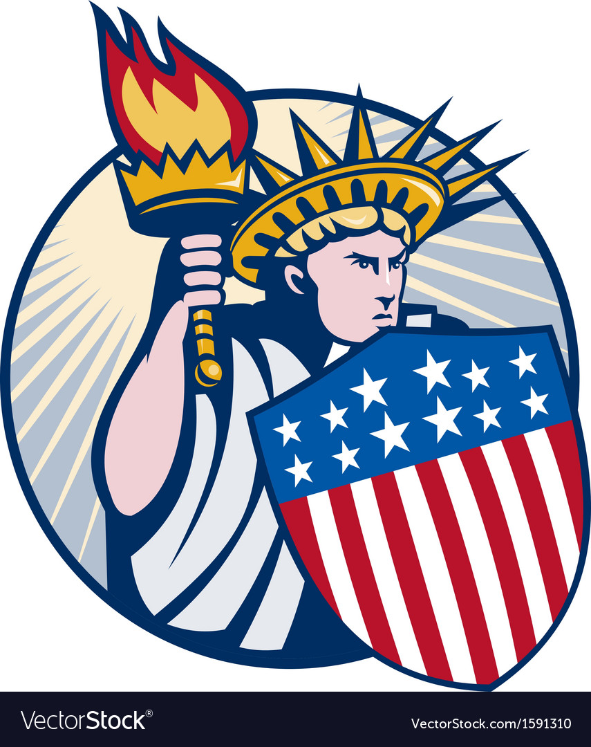 Lady statue of liberty with torch and shield vector | Price: 1 Credit (USD $1)
