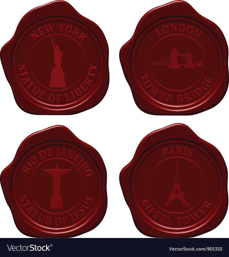 Landmark sealing wax set vector | Price: 1 Credit (USD $1)