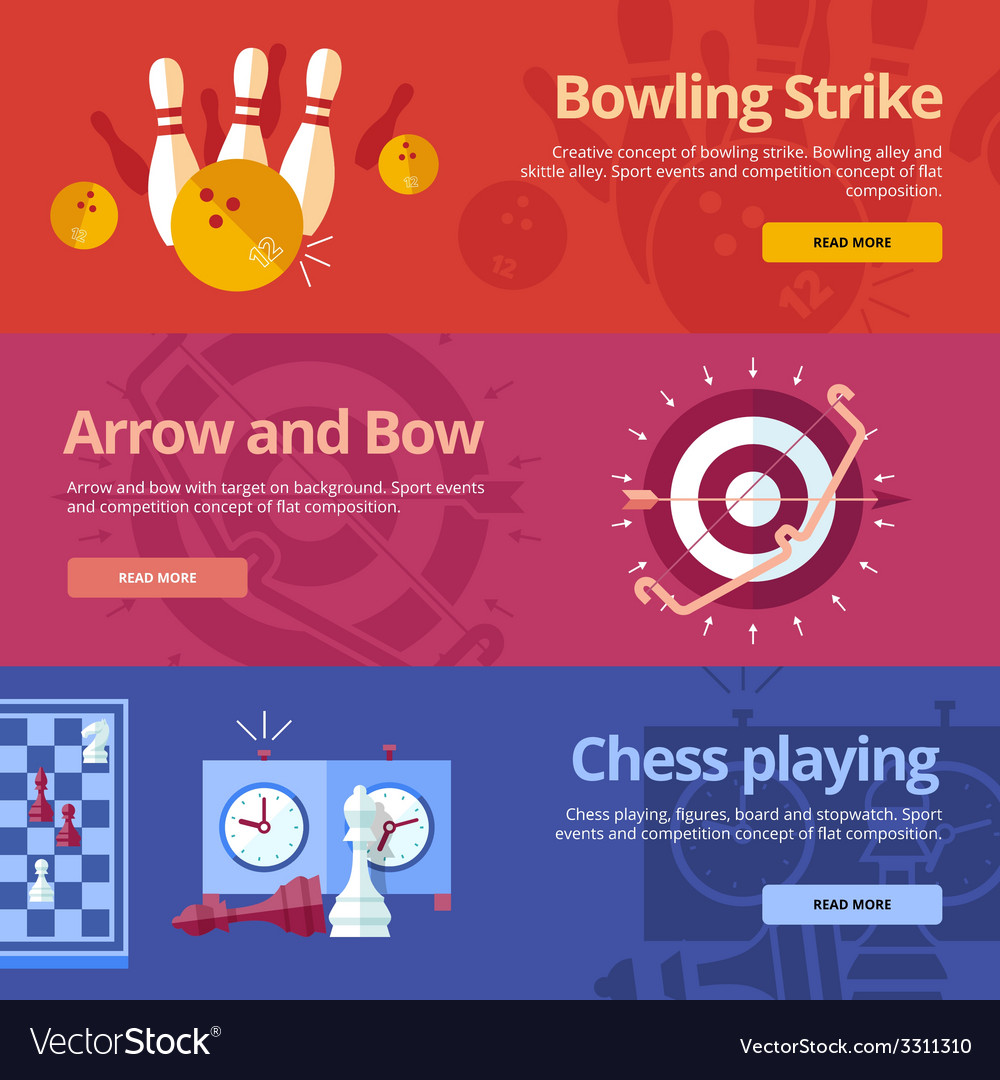 Set of flat design concepts for bowling strike vector | Price: 1 Credit (USD $1)