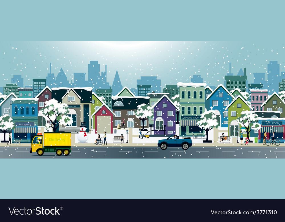Snow city vector | Price: 1 Credit (USD $1)