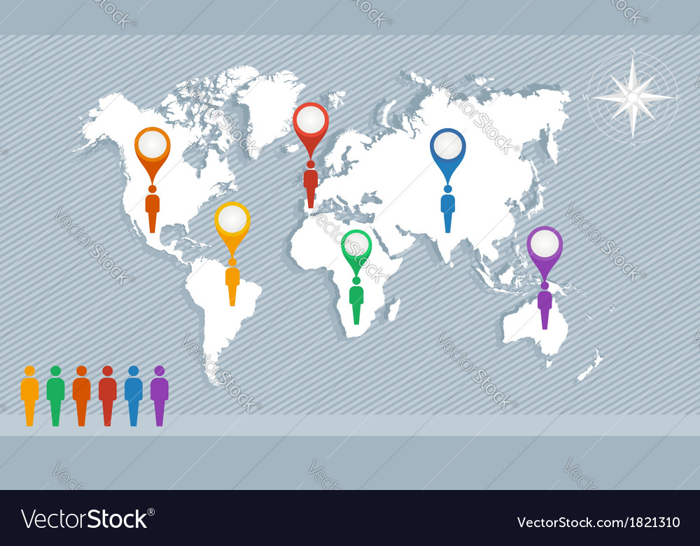 World map geo pointers and men figures eps10 file vector   Price: 1 Credit (USD $1)