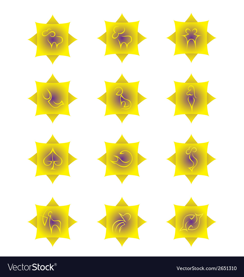 Yellow zodiac signs on yellow gradient squares vector | Price: 1 Credit (USD $1)