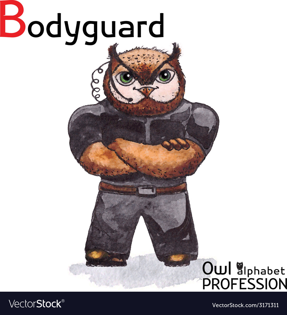 Alphabet professions owl letter b - bodyguard vector | Price: 1 Credit (USD $1)
