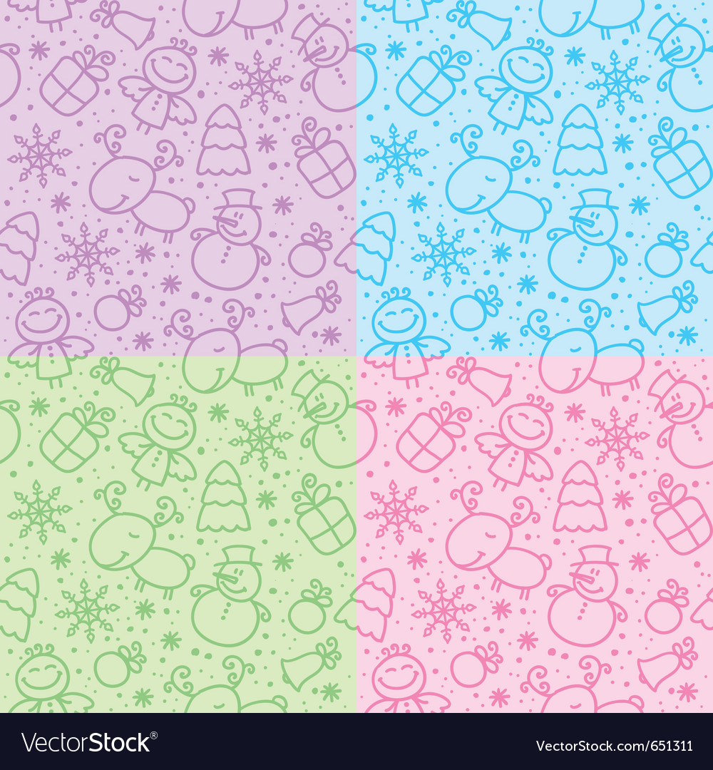 Christmas hand drawn seamless patterns vector | Price: 1 Credit (USD $1)